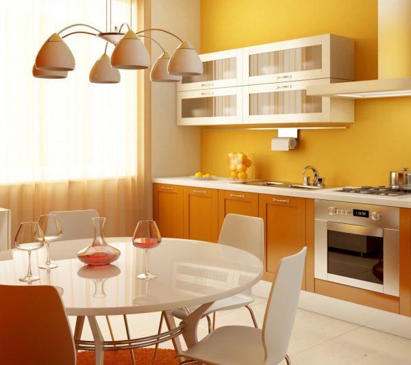 Жёлтый и персиковый на кухне