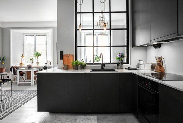 Стильный дизайн угловой маленькой кухни