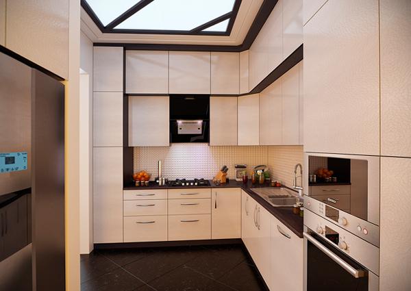 Кухня с верхними шкафами в два яруса