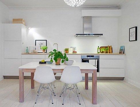 светлая кухня без навесных шкафов