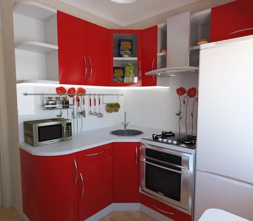 красная маленькая кухня