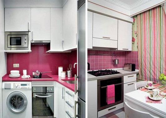 розовые фартуки на маленькой кухне