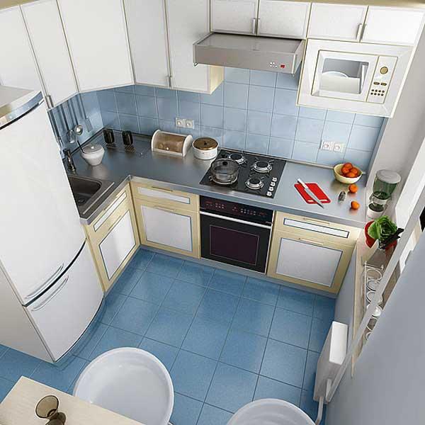голубой пол и стены на кухне