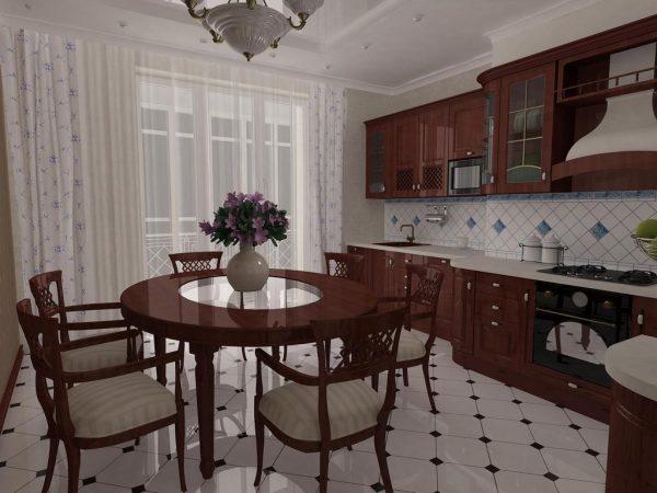 кухня в классическом стиле с тёмными фасадами