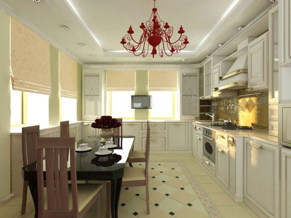 кухня в классическом стиле со светлыми фасадами