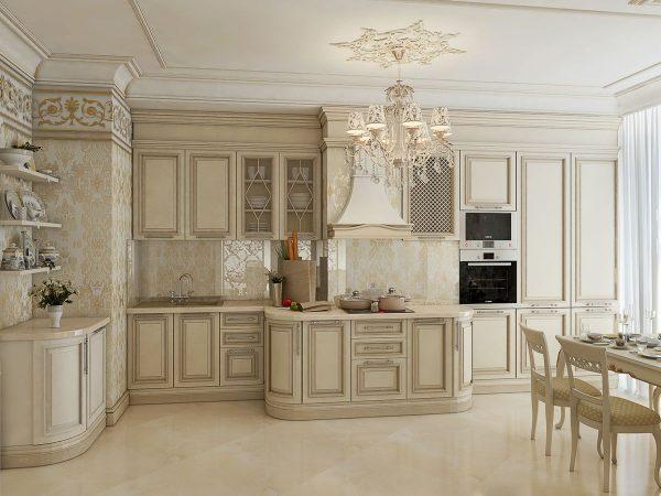 кухня в классическом стиле с хрустальной люстрой