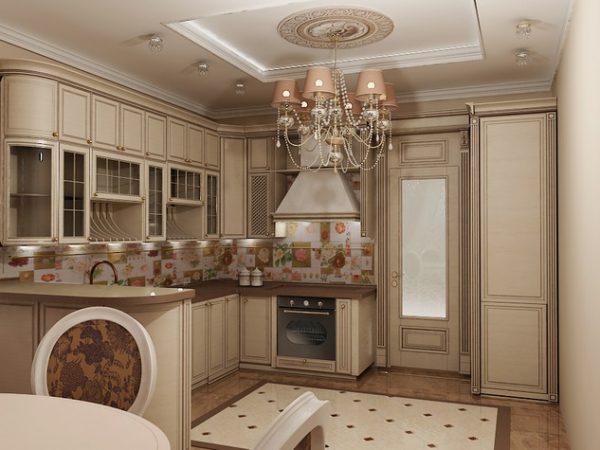 кухня в классическом стиле со стильным потолком