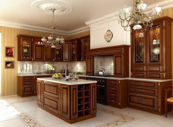 кухня в классическом стиле под дерево