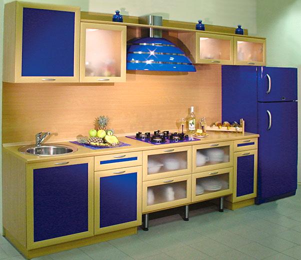 Кухня экономкласса синяя