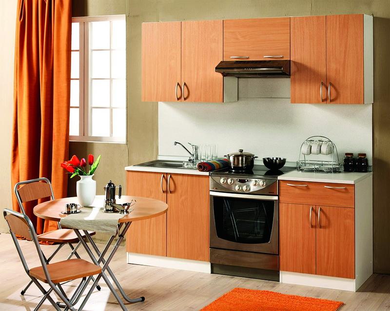 Кухня экономкласса персиковая