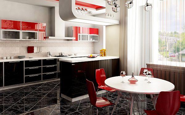 чёрный пол на красной кухне