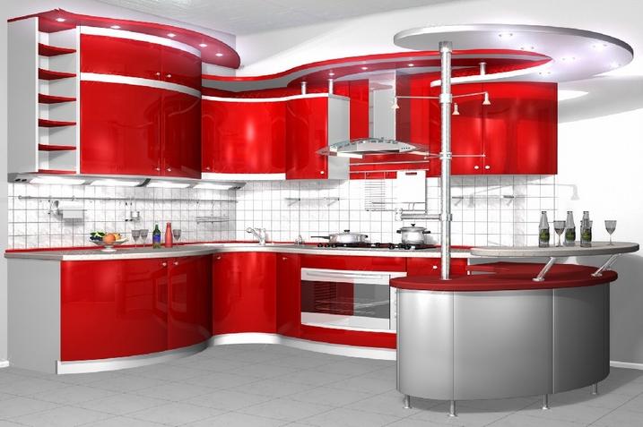 серый и красный на кухне