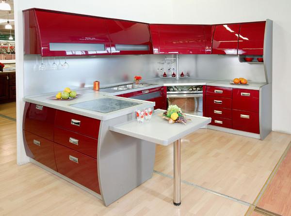 кухня красного цвета глянцевая