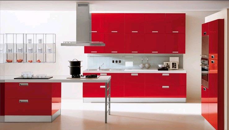 кухни красные с белым фото
