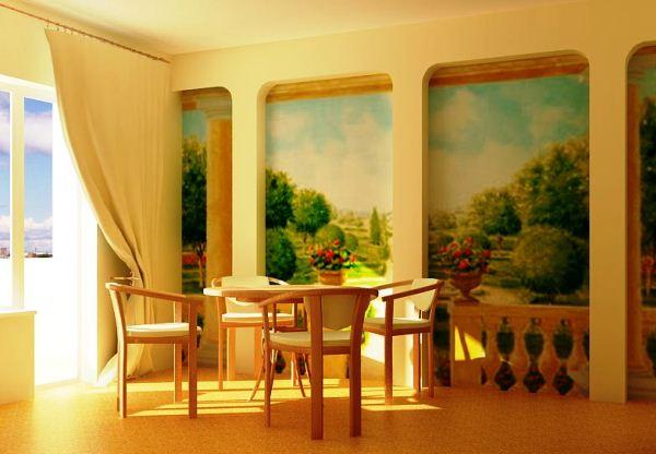 Фотообои для кухни с пейзажем