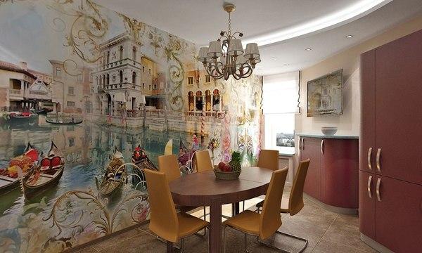 Дизайн кухни с пейзажем на фотообоях