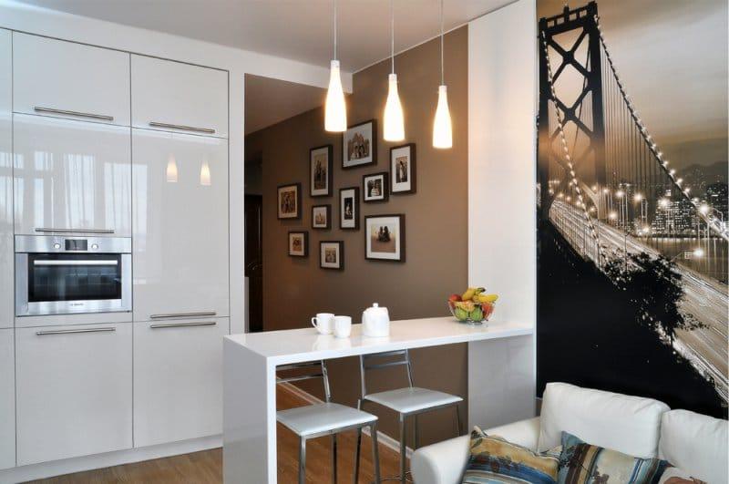 Дизайн кухни с фотообоями на стене — фото интерьеров