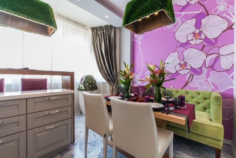 Фотообои на кухне с орхидеями