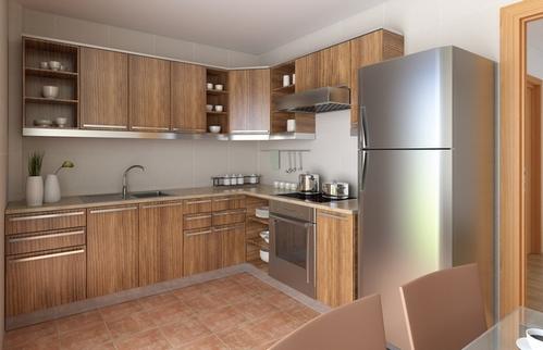 угловая кухня с металлическим холодильником