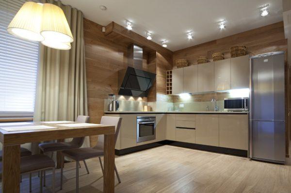 подсветка на угловой кухне