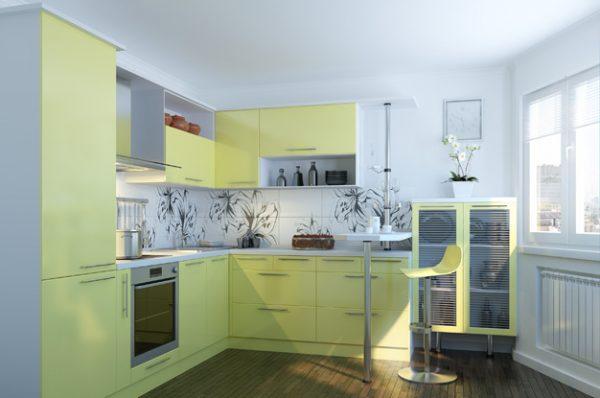 жёлтая угловая кухня