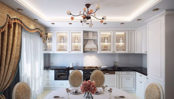 угловая белая кухня