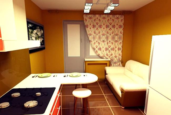 прямой диван на кухню