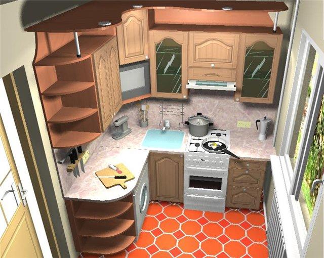 зонирование маленькой кухни