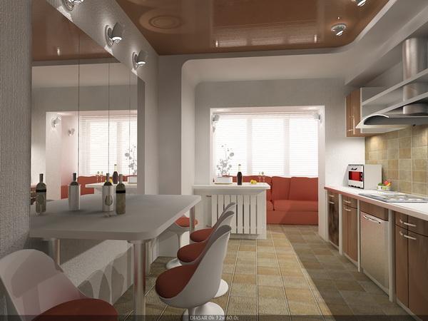 Зона отдыха на балконе, совмещённом с кухней