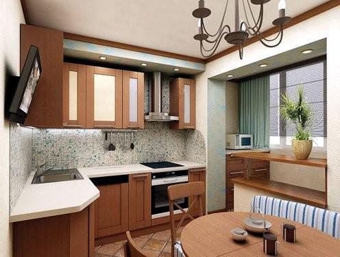 Угловая кухня на совмещённом балконе