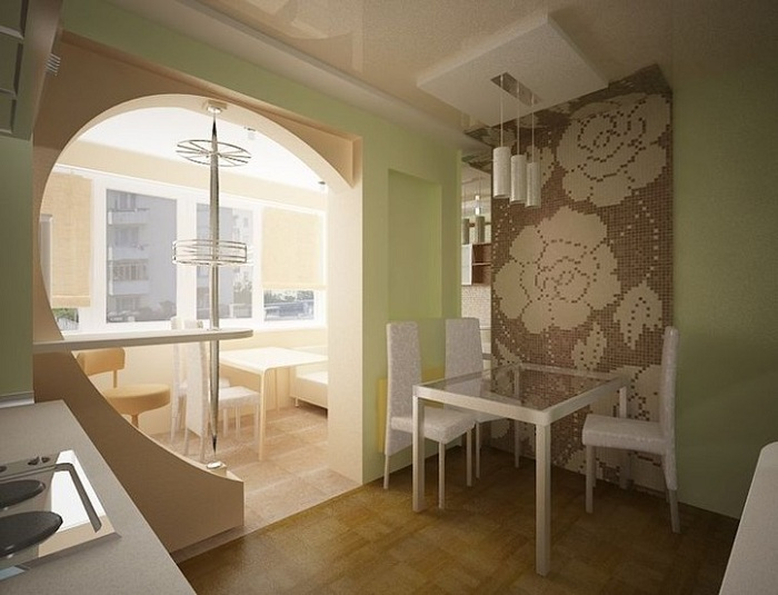 круглая форма перехода с балкона на кухню