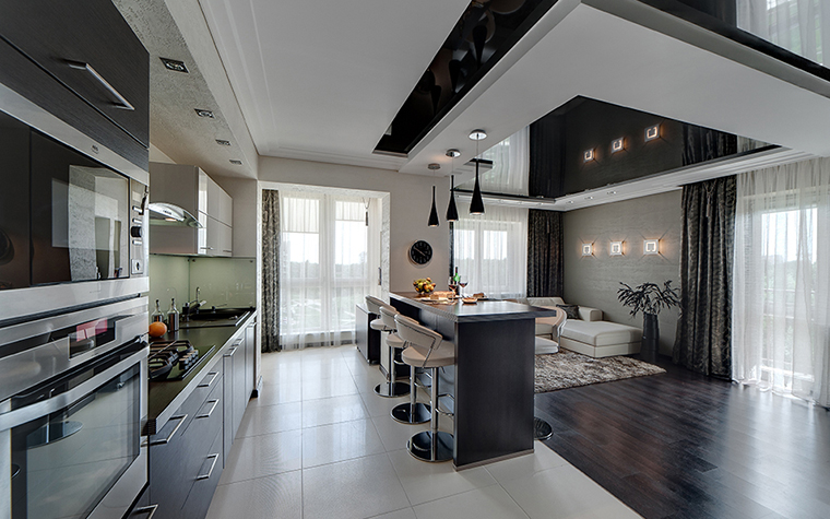 Совмещённая кухня с гостиной