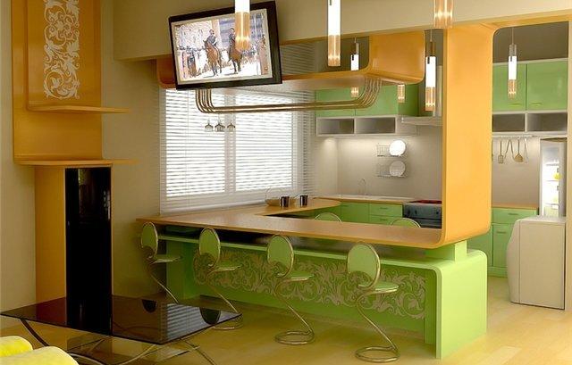Зелёный цвет на оранжевой кухне