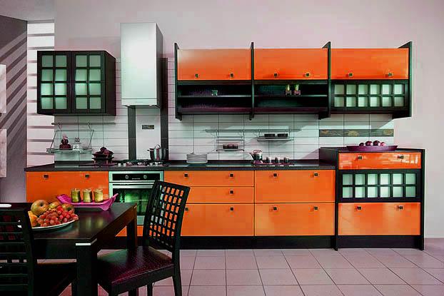 японский стиль на оранжевой кухне