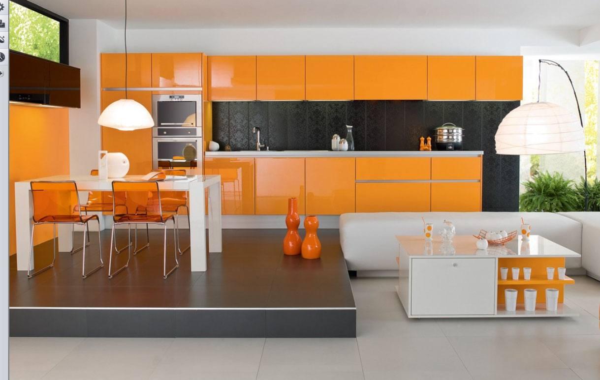 лёгкий оранжевый в интерьере кухни