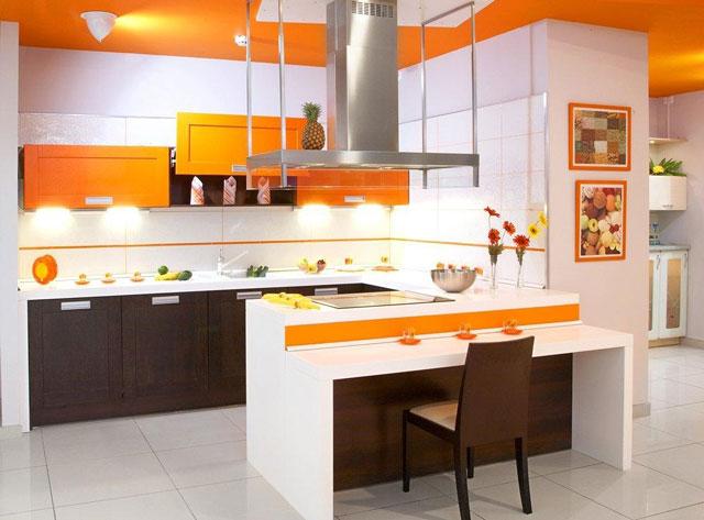 Минимализм на оранжевой кухне