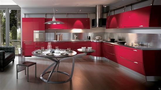 розовый на сером в интерьере кухни