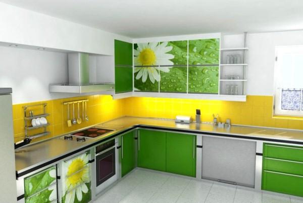Зелёно-жёлтая кухня