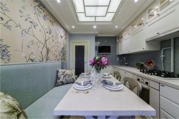 голубой с бежевым на кухне
