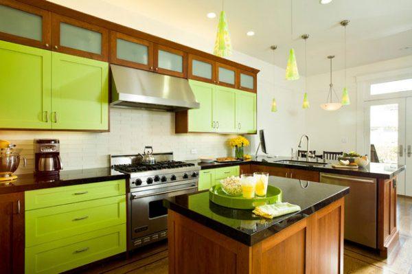 зелёный и коричневый в интерьере кухни