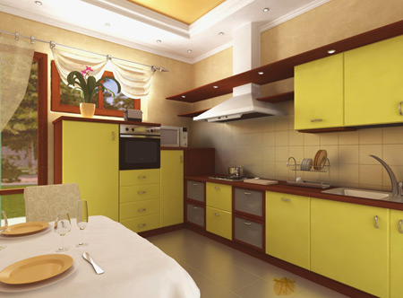 Жёлтый гарнитур с коричневой столешницей