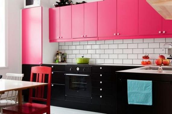стильная розовая кухня