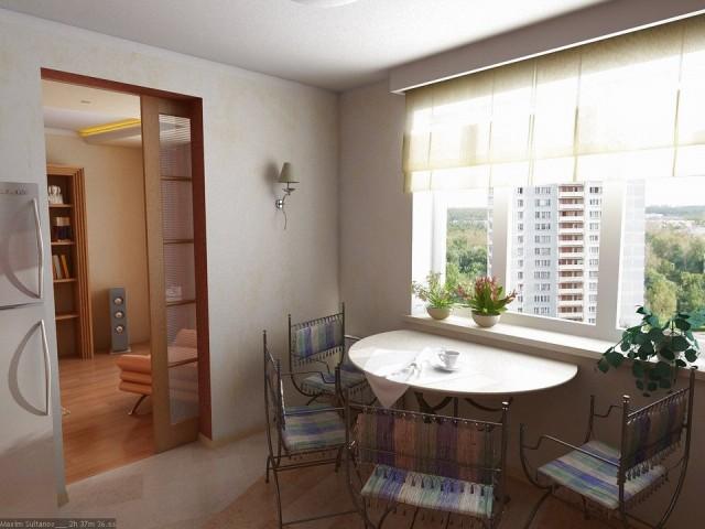 Стол у окна для маленькой кухни