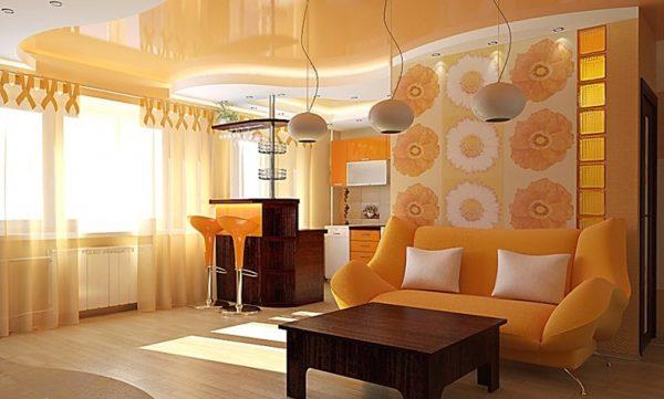 общая цветовая палитра для кухни и гостиной