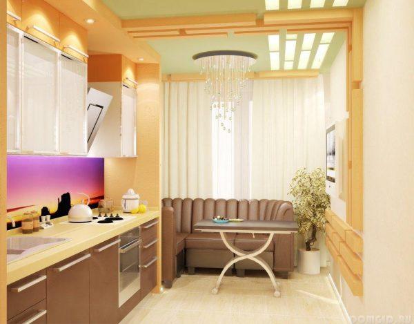 кофе с молоком - цвет дивана на кухне