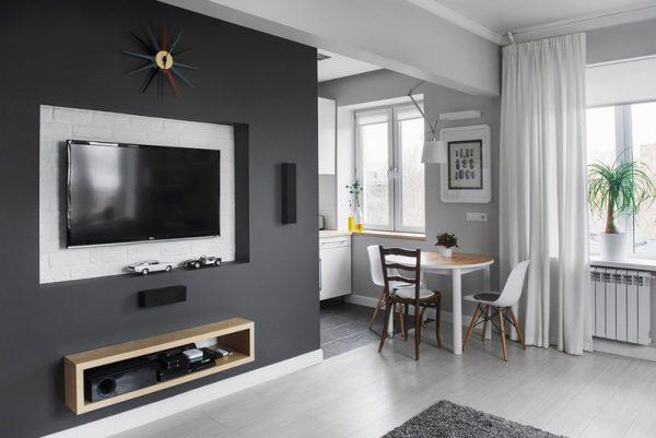 классическое сочетание белого и черного цветов в интерьере