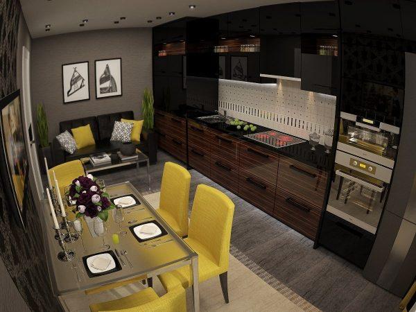 желтые подушки черного дивана в цвет с обивкой стульев