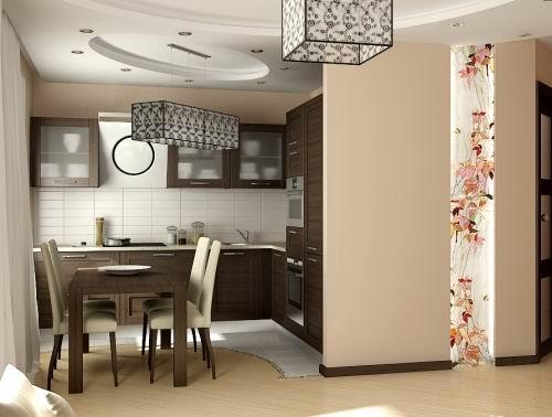 темный коричневый для кухни и светлый беж для гостиной