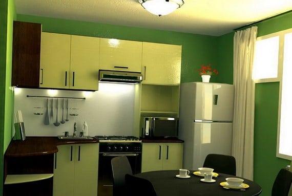небольшая кухня в зелёных тонах