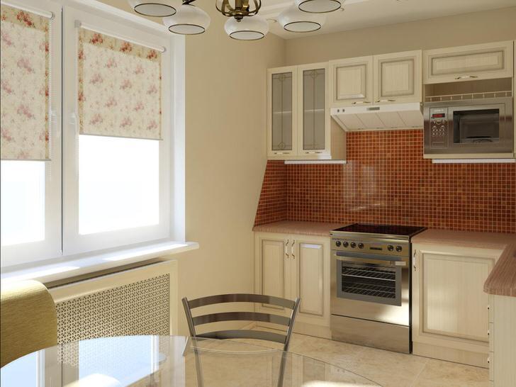 Светло-бежевые тона в оформлении кухни
